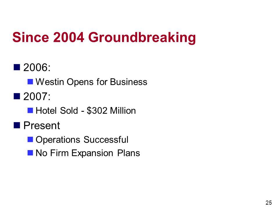 Since 2004 Groundbreaking 2006: 2007: Present