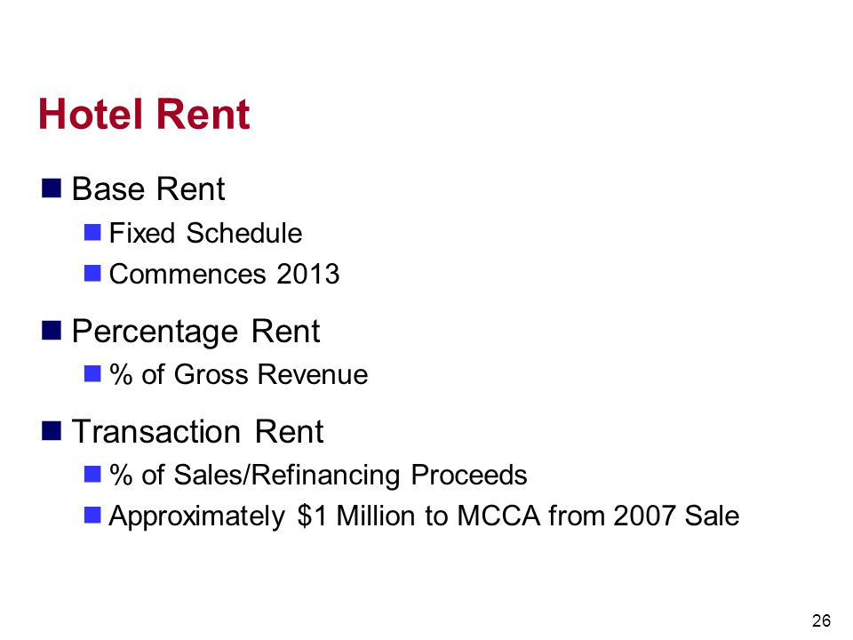 Hotel Rent Base Rent Percentage Rent Transaction Rent Fixed Schedule