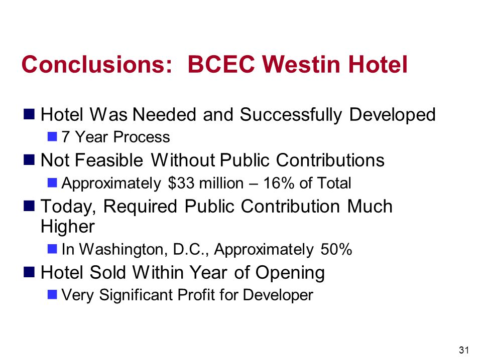 Conclusions: BCEC Westin Hotel