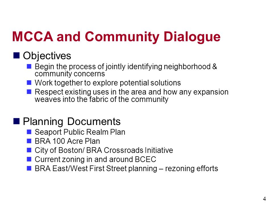 MCCA and Community Dialogue