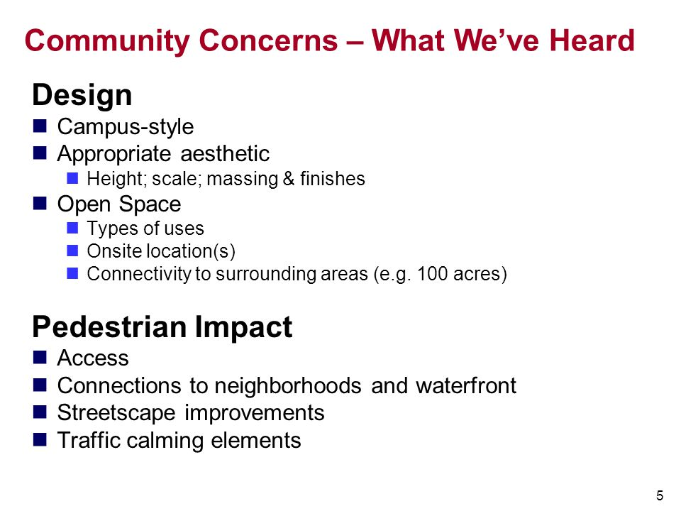 Community Concerns – What We've Heard