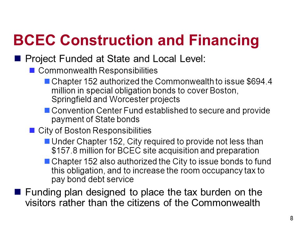 BCEC Construction and Financing