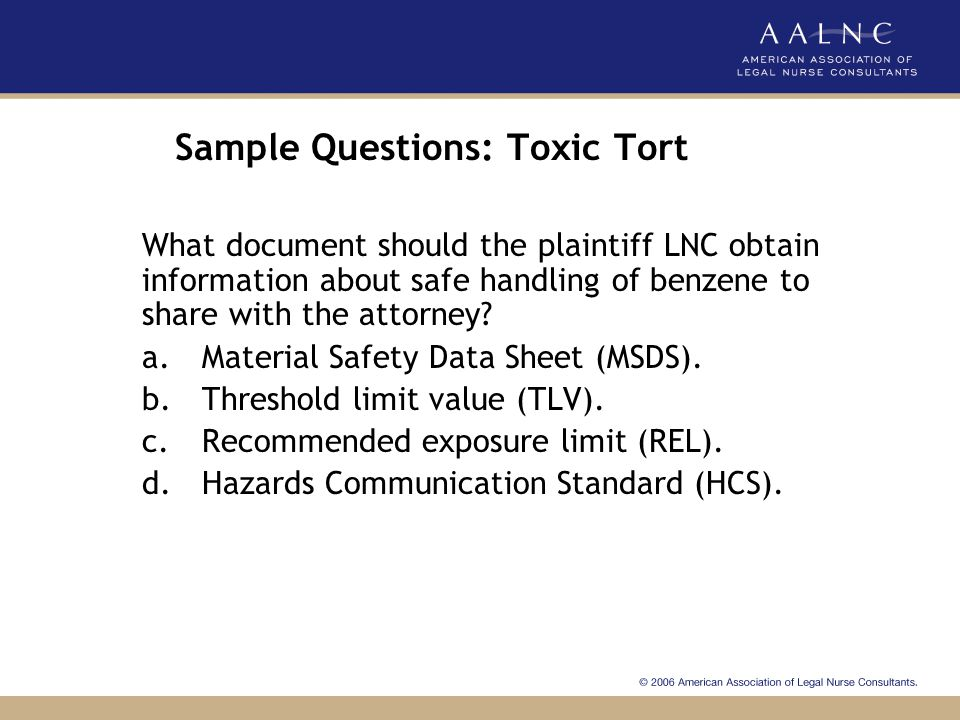 Sample Questions: Toxic Tort