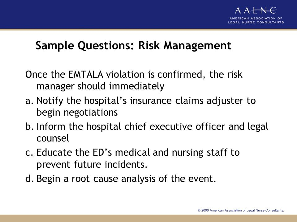 Sample Questions: Risk Management
