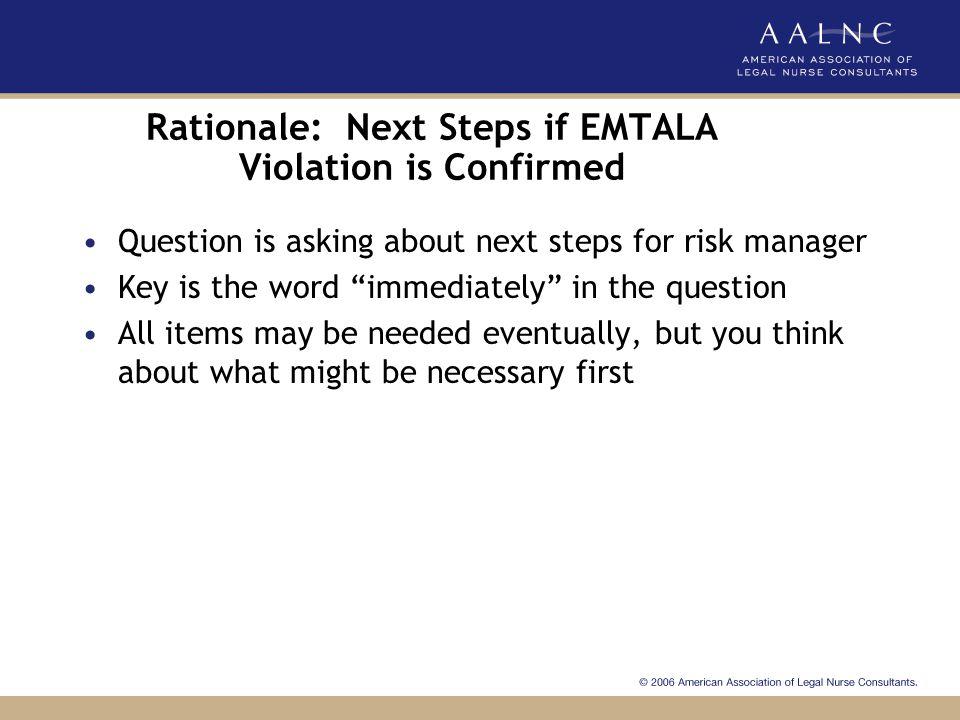 Rationale: Next Steps if EMTALA Violation is Confirmed