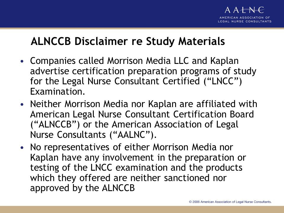ALNCCB Disclaimer re Study Materials