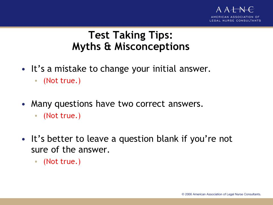 Test Taking Tips: Myths & Misconceptions