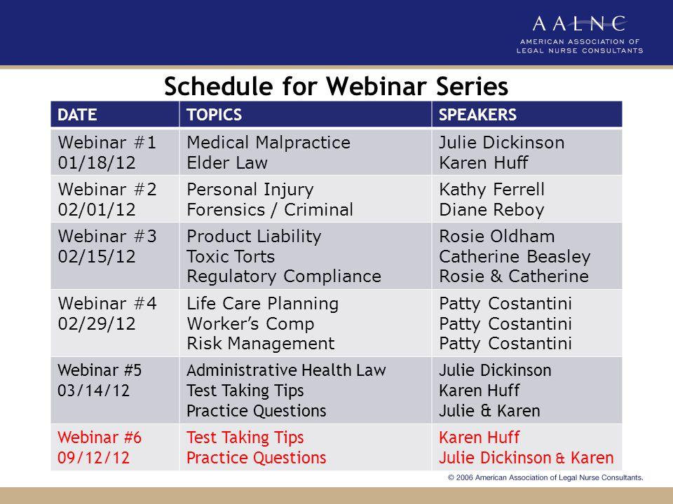 Schedule for Webinar Series