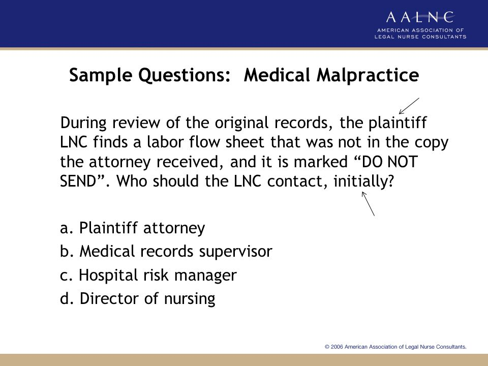 Sample Questions: Medical Malpractice