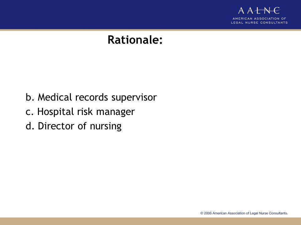 Rationale: b. Medical records supervisor c. Hospital risk manager