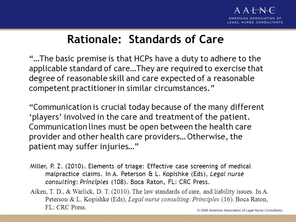 Rationale: Standards of Care