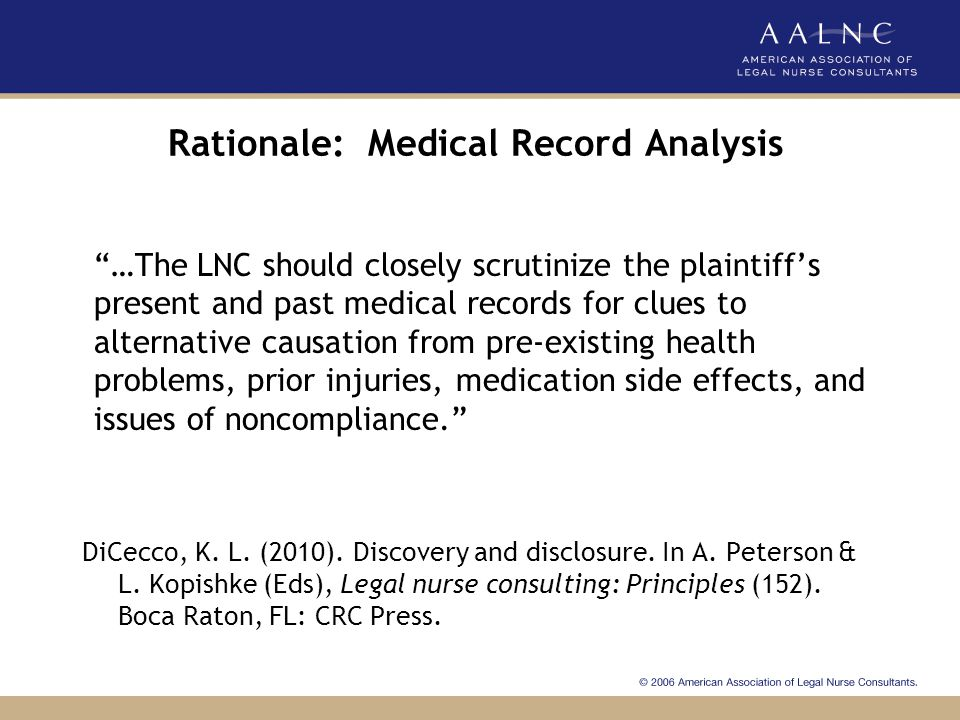 Rationale: Medical Record Analysis