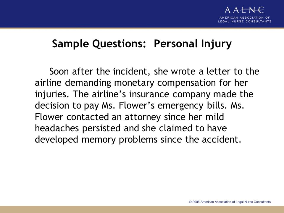 Sample Questions: Personal Injury