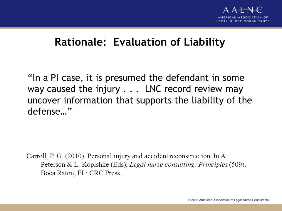 Rationale: Evaluation of Liability