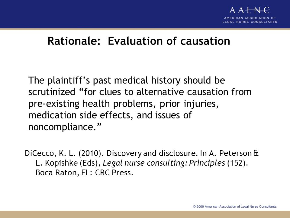 Rationale: Evaluation of causation