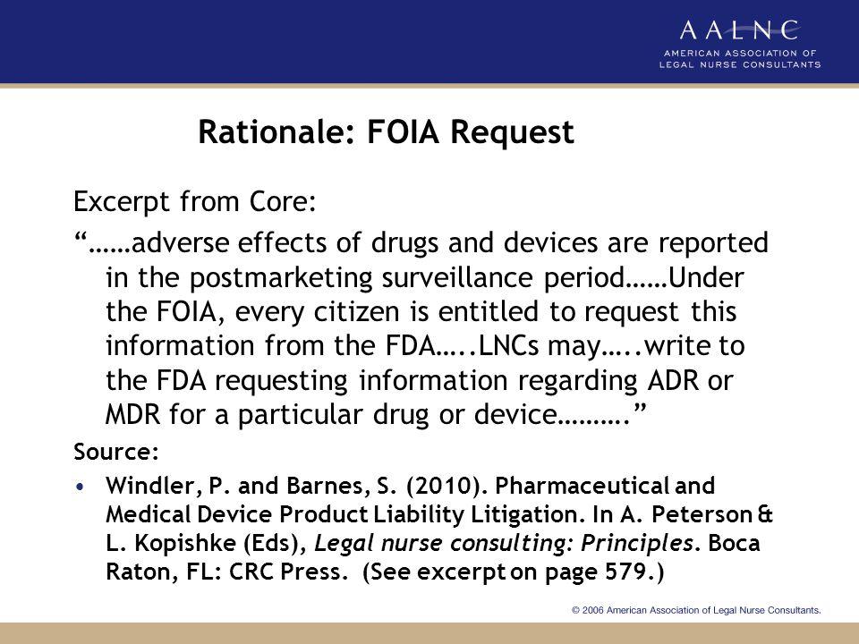 Rationale: FOIA Request
