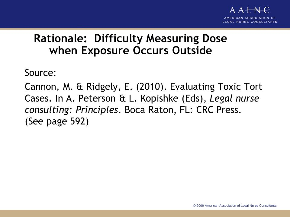 Rationale: Difficulty Measuring Dose when Exposure Occurs Outside