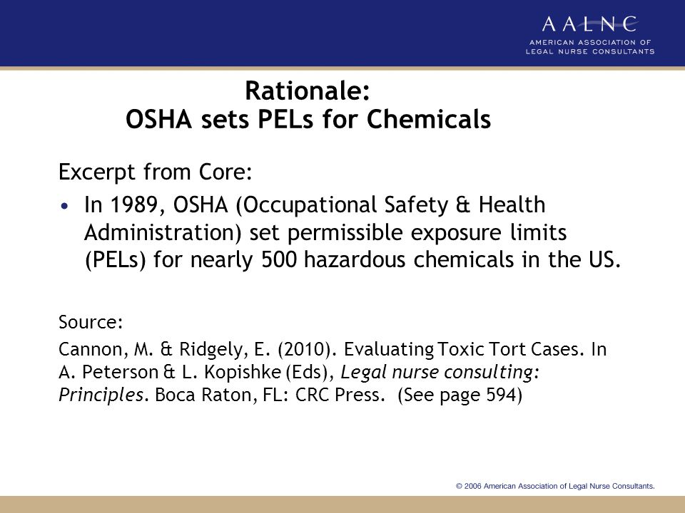 Rationale: OSHA sets PELs for Chemicals