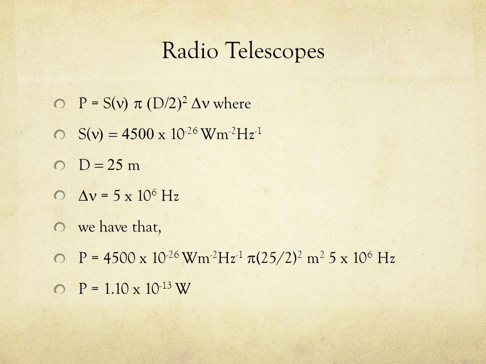 Radio Telescopes P = S(n) p (D/2)2 Dn where