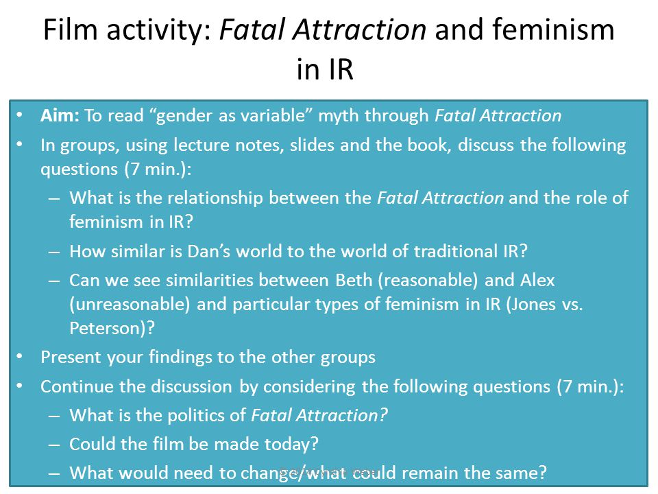 Film activity: Fatal Attraction and feminism in IR