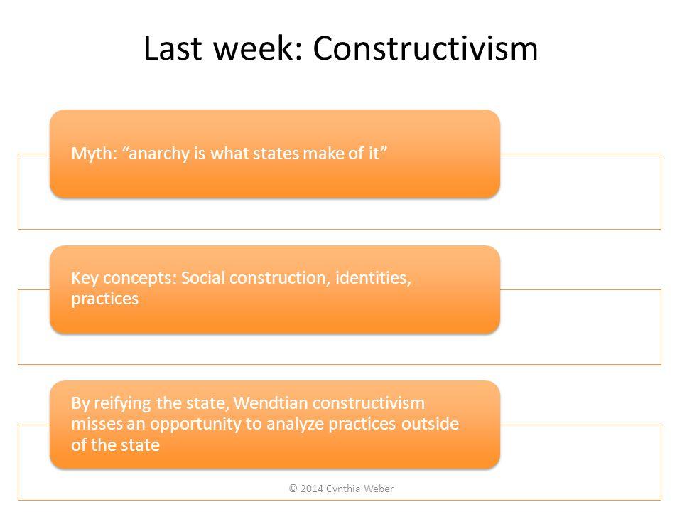 Last week: Constructivism