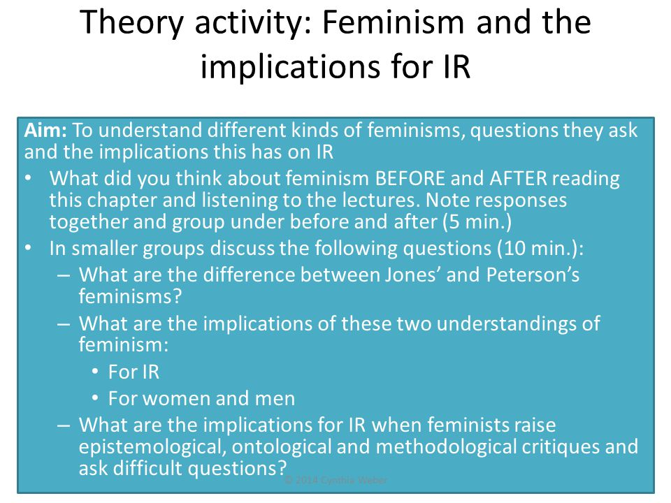 Theory activity: Feminism and the implications for IR