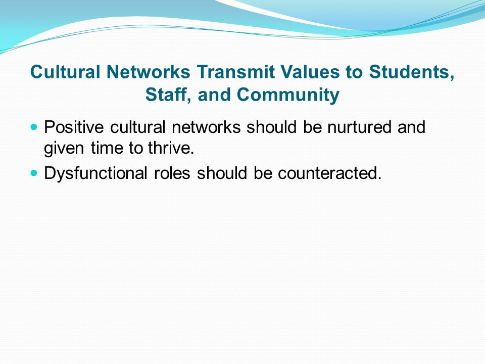 Cultural Networks Transmit Values to Students, Staff, and Community