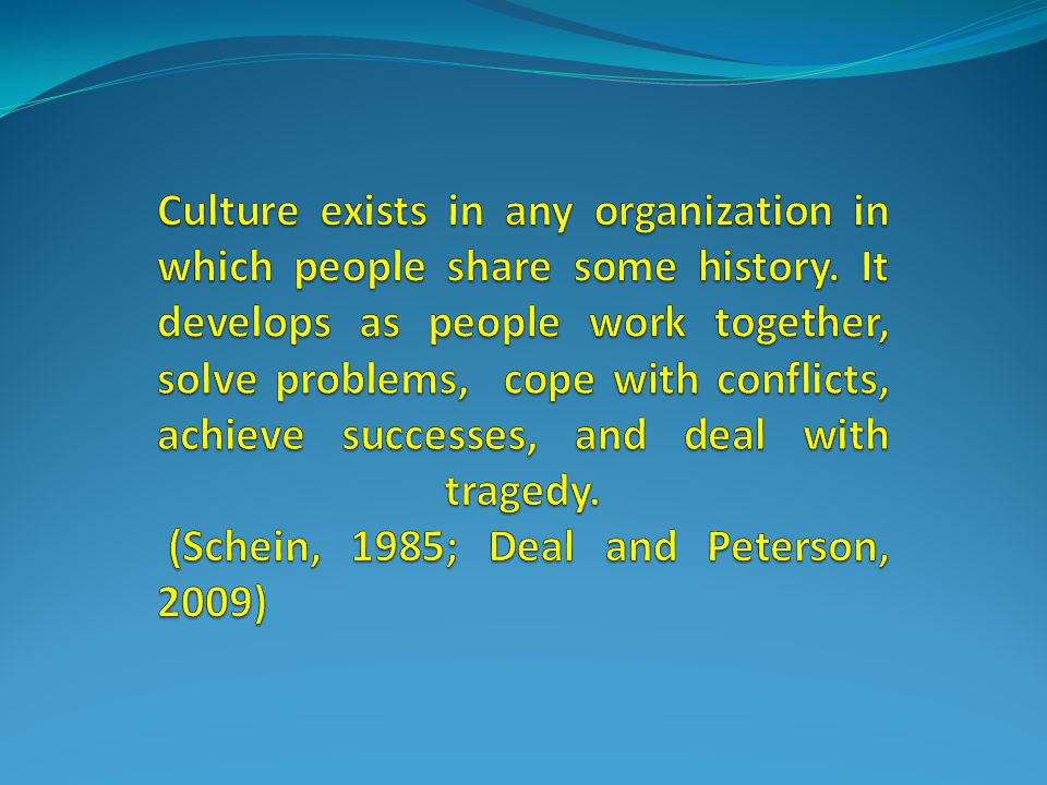 Culture exists in any organization in which people share some history