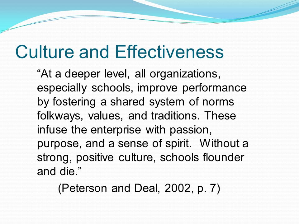 Culture and Effectiveness