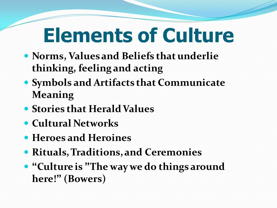 Elements of Culture Norms, Values and Beliefs that underlie thinking, feeling and acting. Symbols and Artifacts that Communicate Meaning.