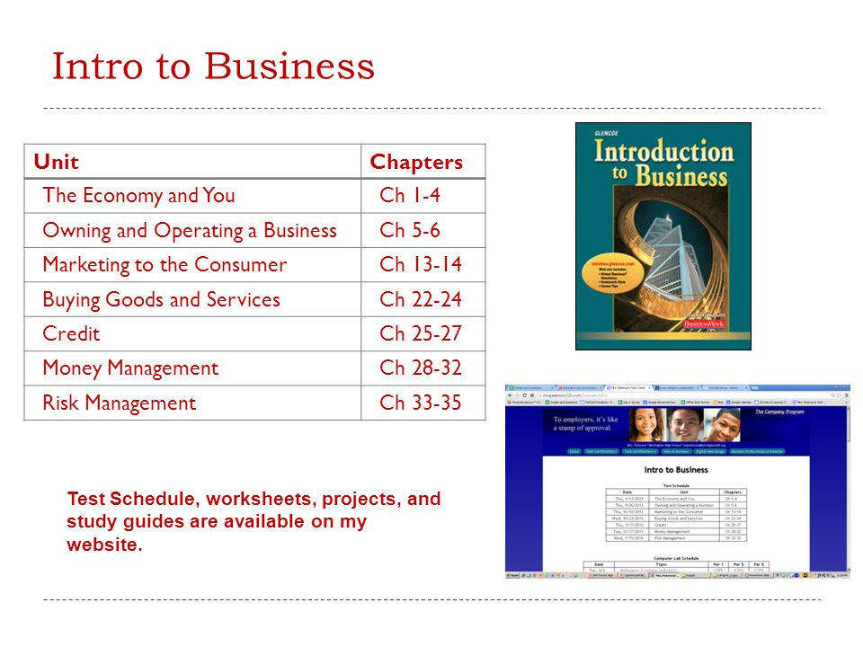 Intro to Business Unit Chapters The Economy and You Ch 1-4