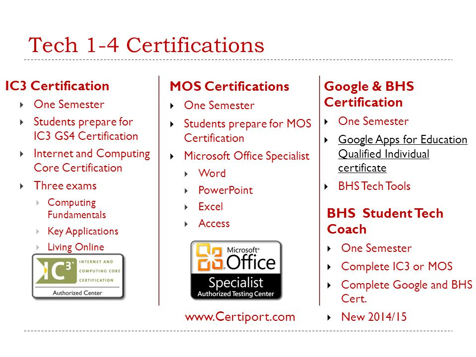 Tech 1-4 Certifications IC3 Certification MOS Certifications