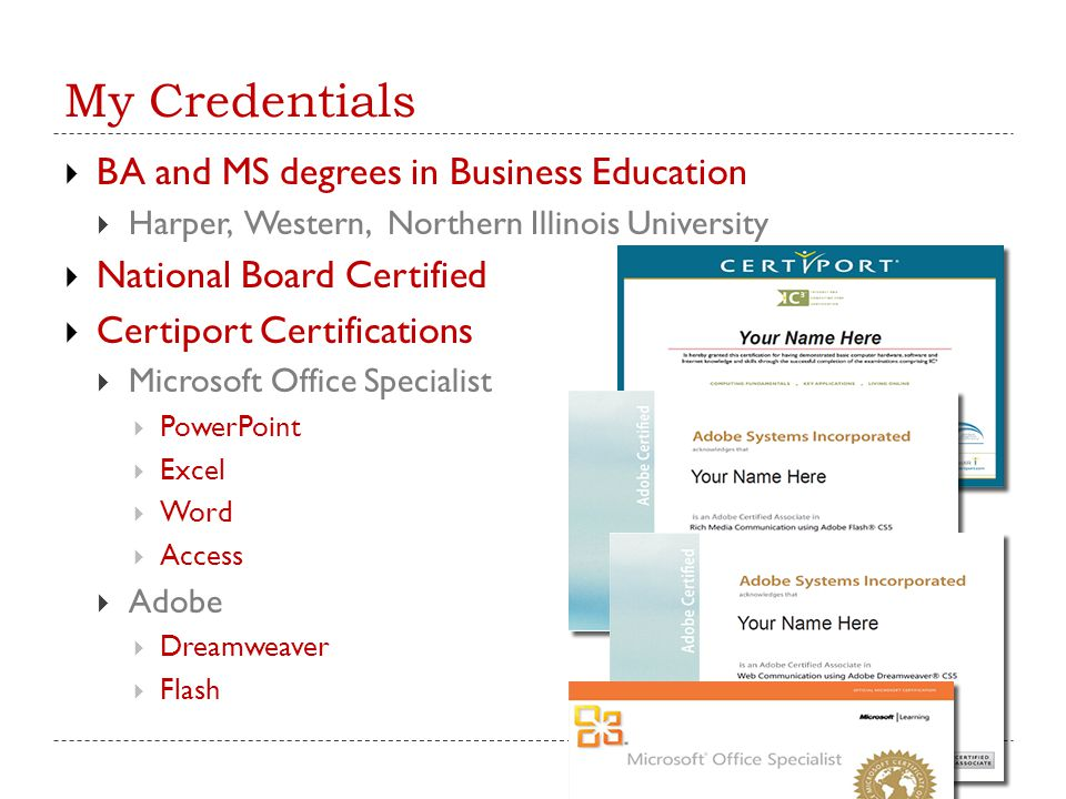 My Credentials BA and MS degrees in Business Education