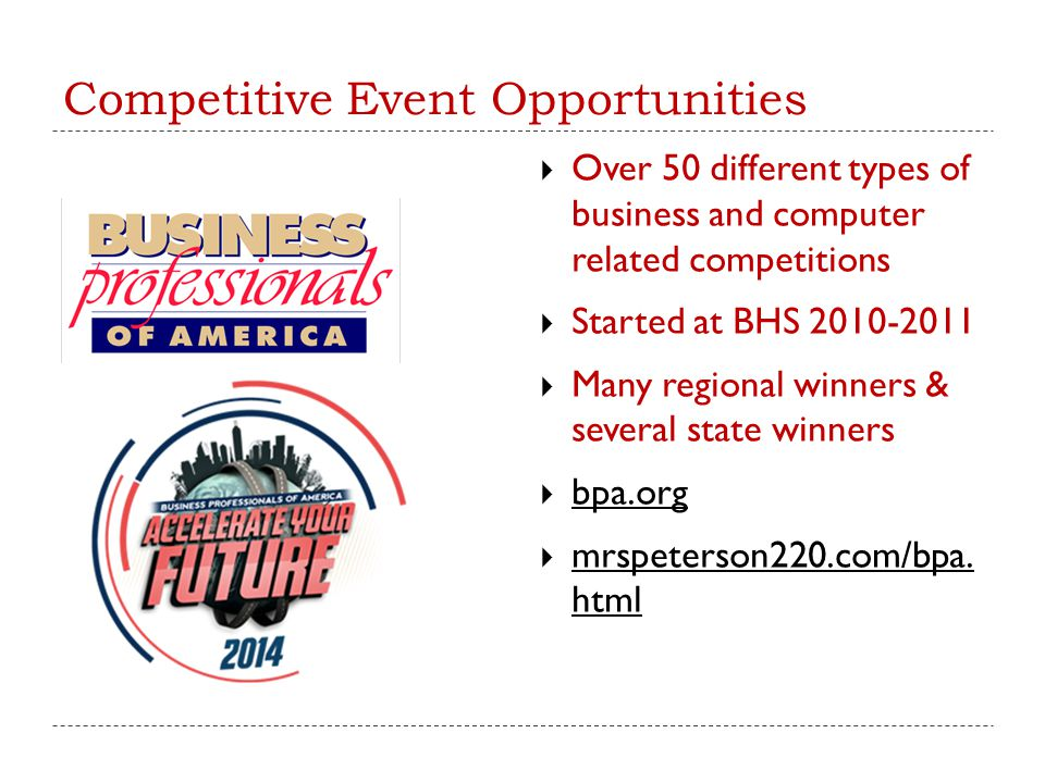 Competitive Event Opportunities