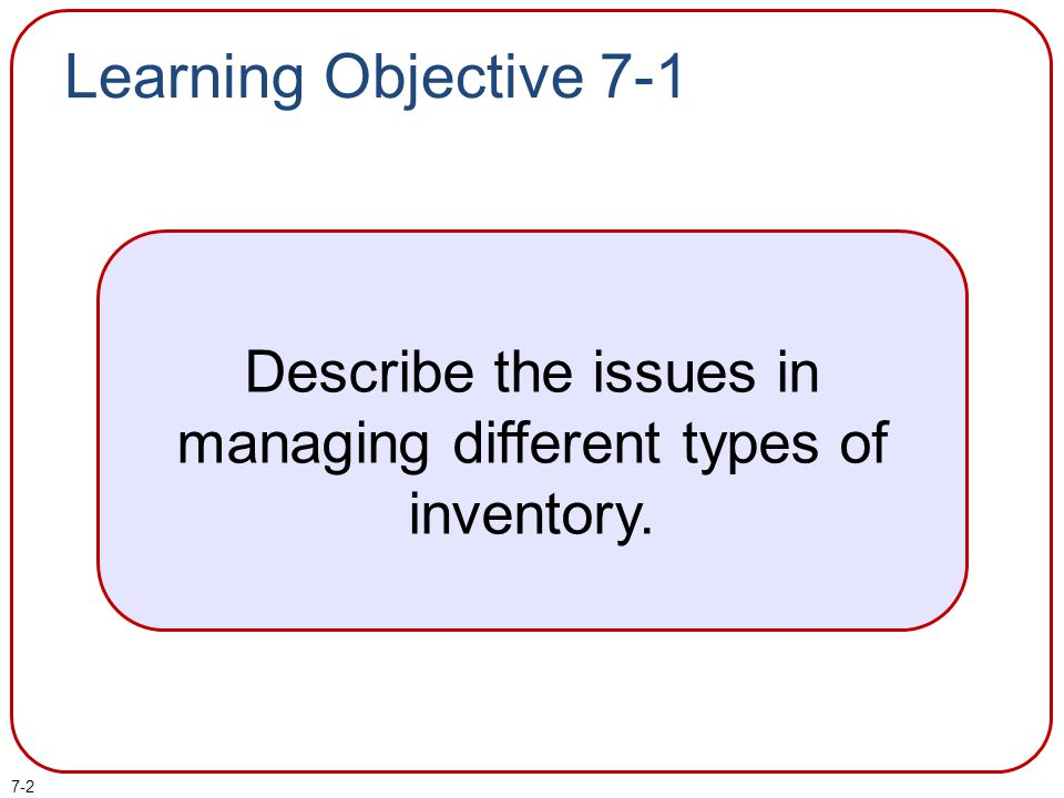 Describe the issues in managing different types of inventory.