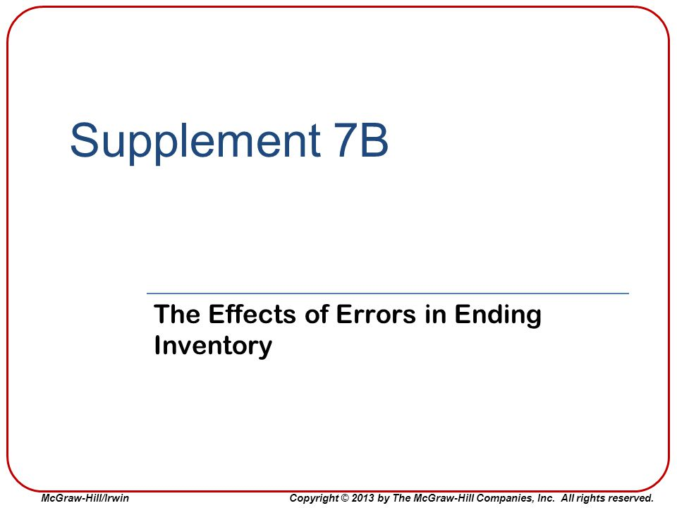 The Effects of Errors in Ending Inventory