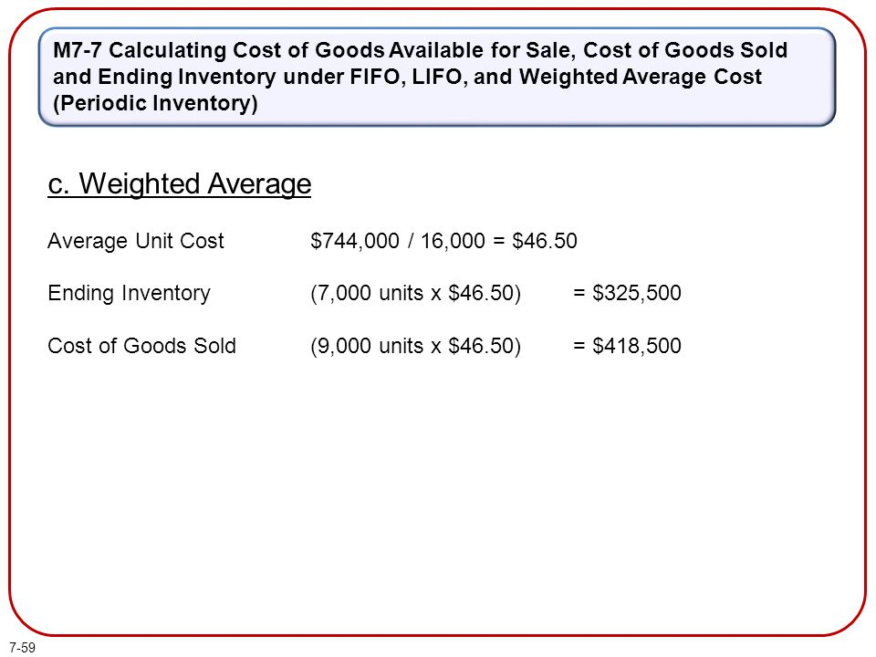 M7-7 Calculating Cost of Goods Available for Sale, Cost of Goods Sold and Ending Inventory under FIFO, LIFO, and Weighted Average Cost (Periodic Inventory)