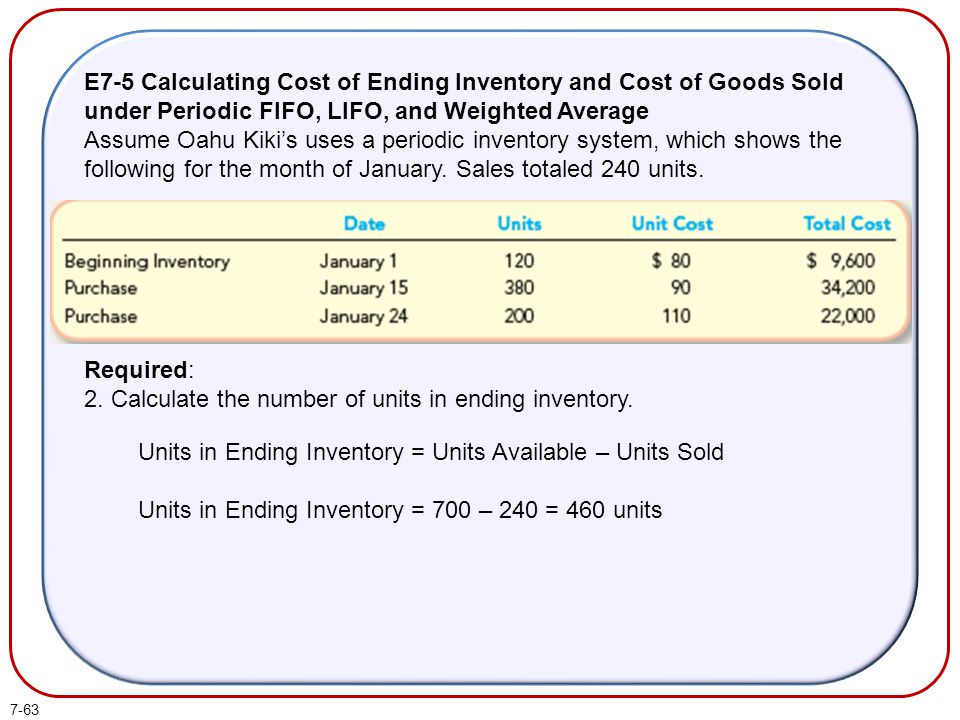 2. Calculate the number of units in ending inventory.