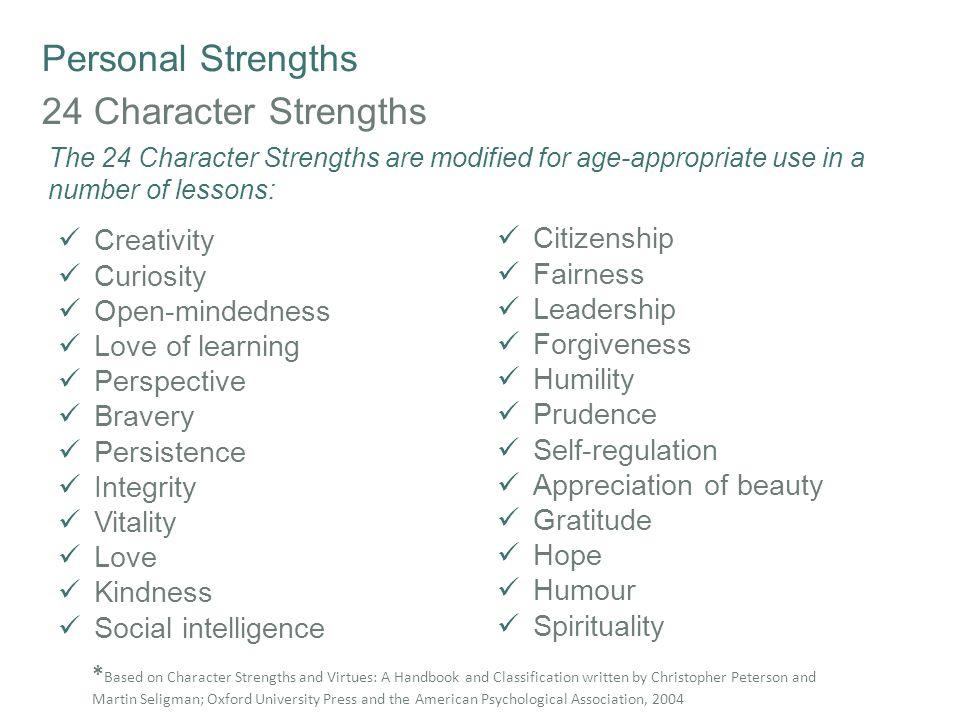 Personal Strengths 24 Character Strengths Creativity Citizenship