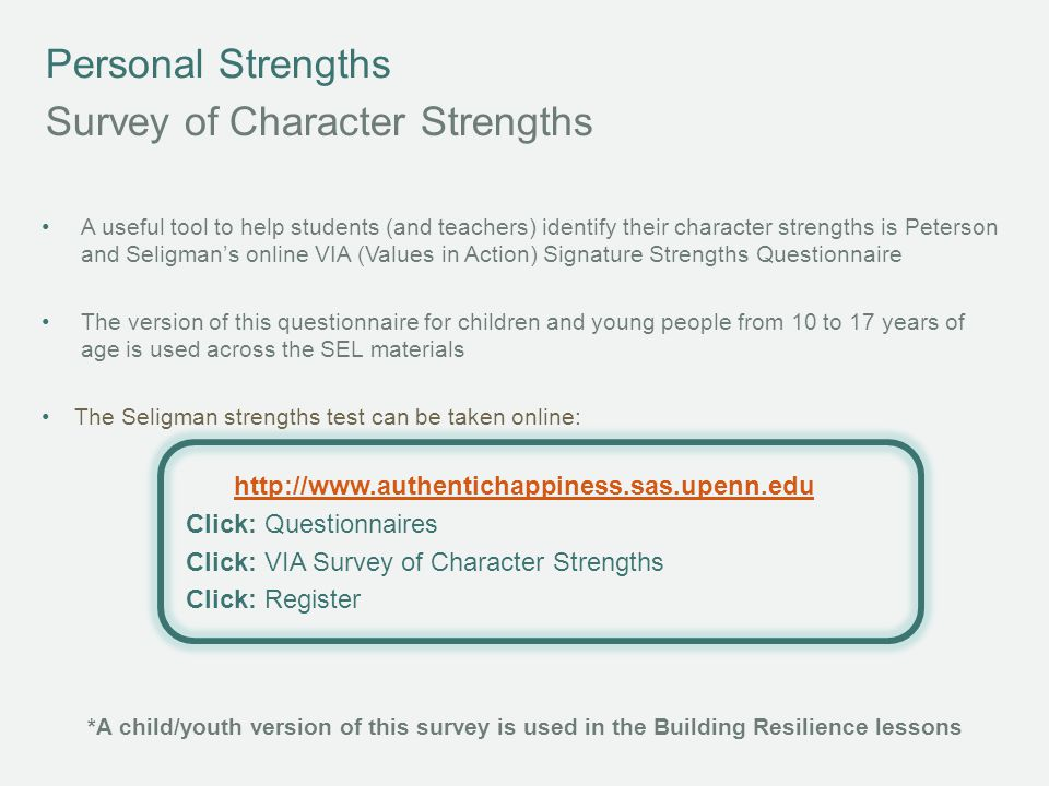 Survey of Character Strengths