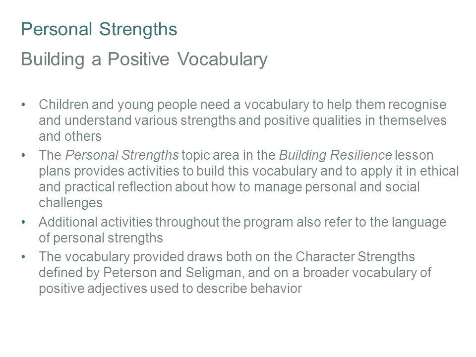 Building a Positive Vocabulary