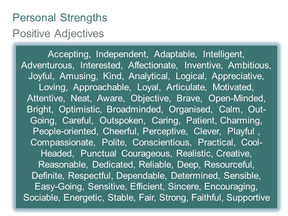 Personal Strengths Positive Adjectives