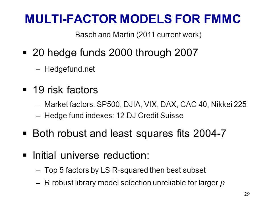 MULTI-FACTOR MODELS FOR FMMC