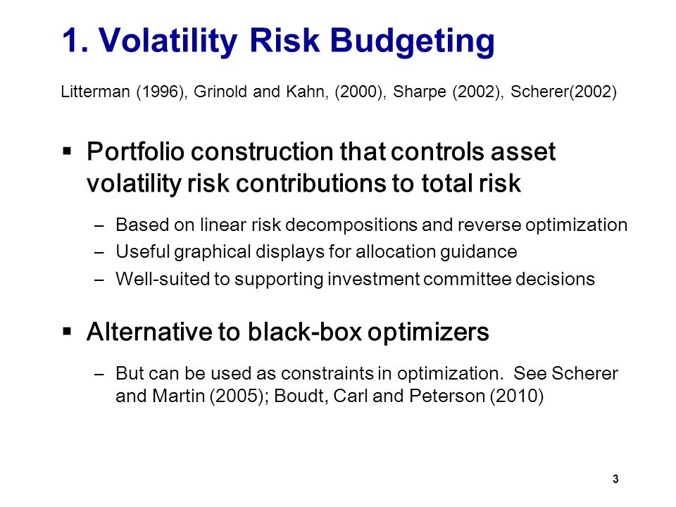 1. Volatility Risk Budgeting