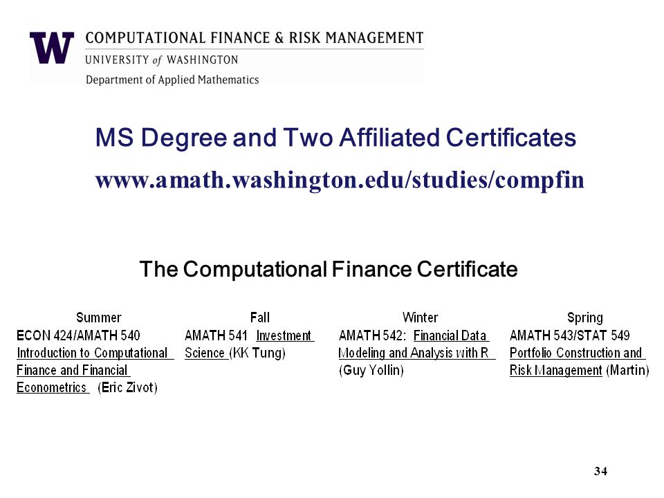 MS Degree and Two Affiliated Certificates