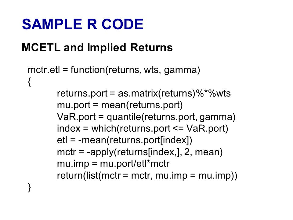 SAMPLE R CODE MCETL and Implied Returns