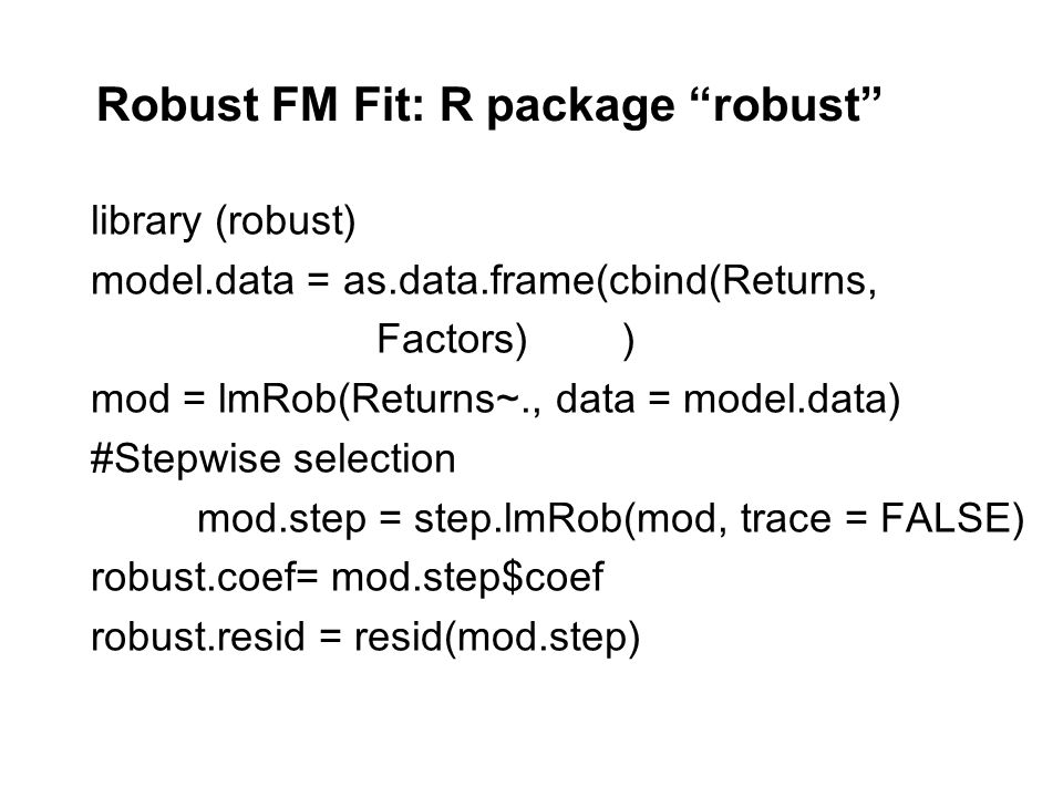 Robust FM Fit: R package robust