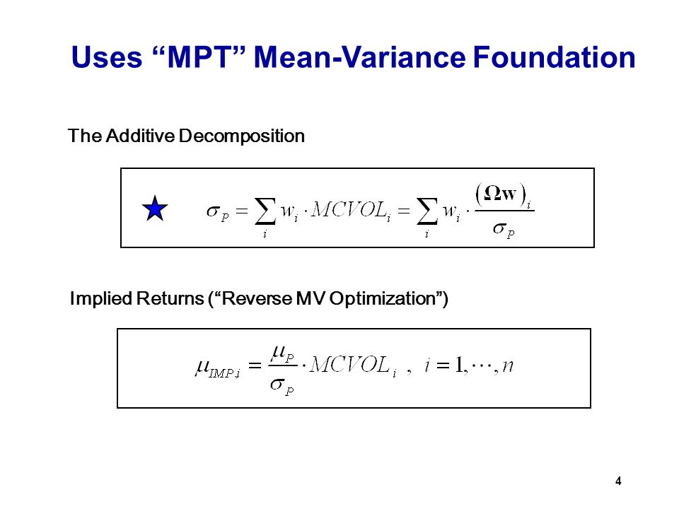 Uses MPT Mean-Variance Foundation