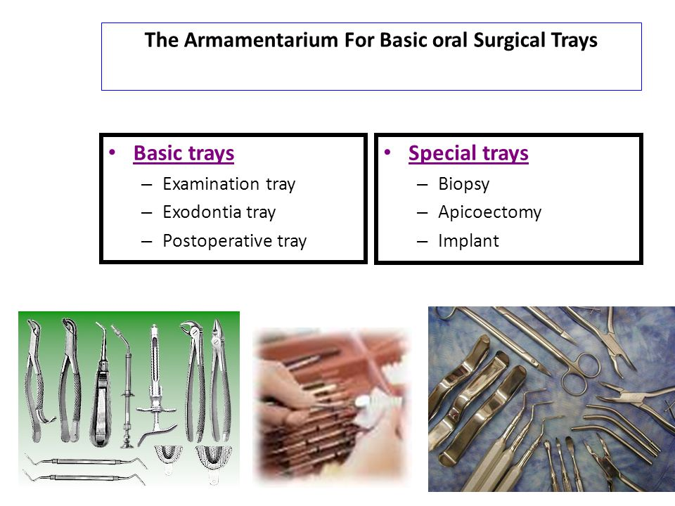The Armamentarium For Basic oral Surgical Trays