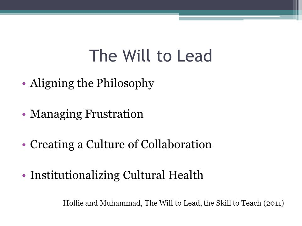 The Will to Lead Aligning the Philosophy Managing Frustration